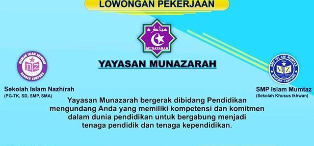 Lowongan Kerja Guru Sekolah Islam Nazhirah (Yayasan Munazarah)