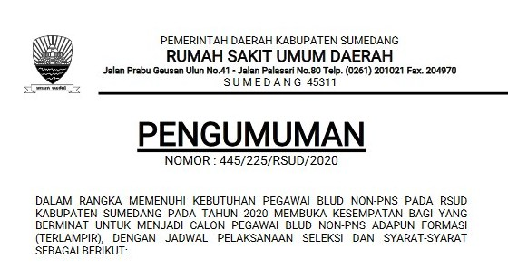 Rekrutmen Calon Pegawai BLUD Non PNS RSUD Sumedang Tahun 2020