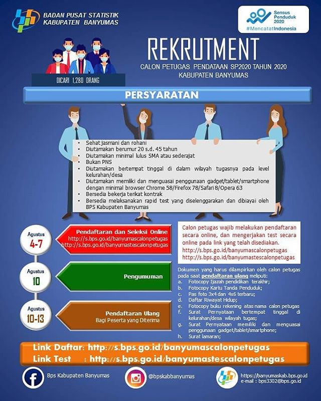 Rekrutmen Calon Petugas Pendataan SP2020 Tahun 2020 Kabupaten Banyumas
