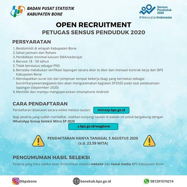 Rekrutmen Petugas Sensus Penduduk 2020 Kabupaten Bone