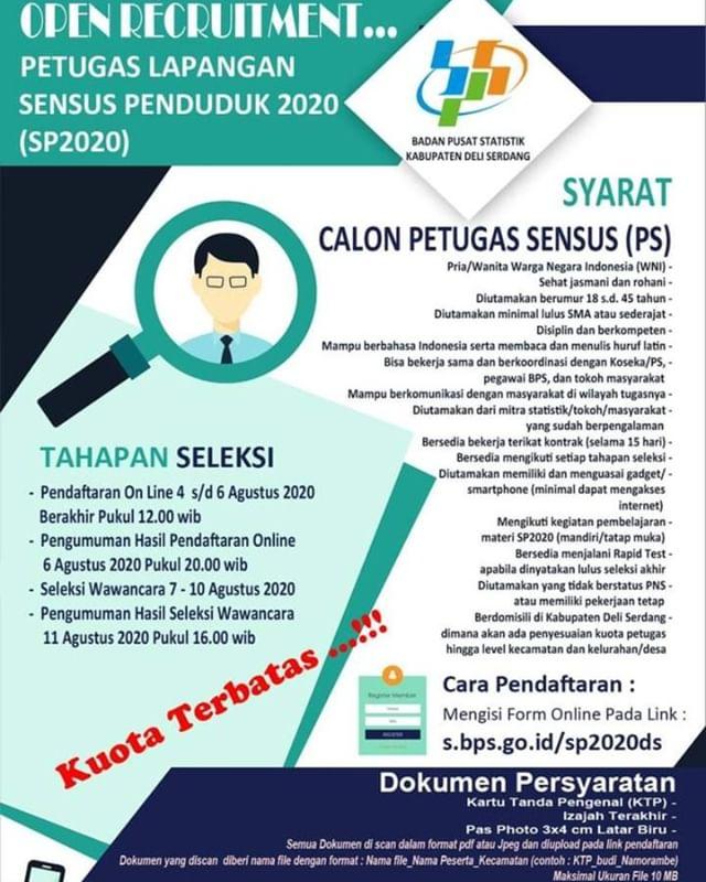 Rekrutmen Petugas Lapangan SP2020 Kabupaten Deli Serdang