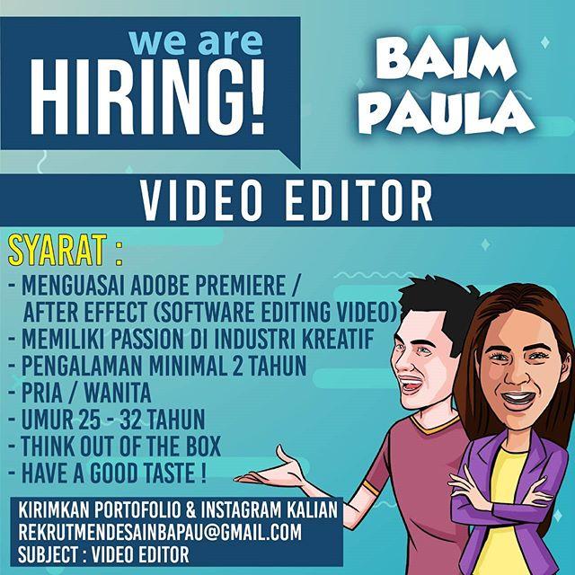 Lowongan Kerja Video Editor Baim Paula