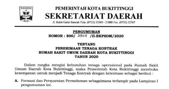 Besar-Besaran ! Penerimaan Tenaga Kontrak Rumah Sakit Umum Daerah Kota Bukittinggi Tahun 2020