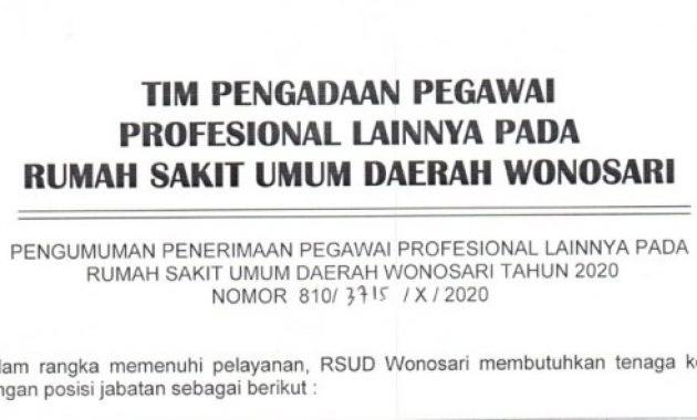 Lowongan Kerja RSUD Wonosari Tingkat SLTA D3 D4 S1 Tahun 2020