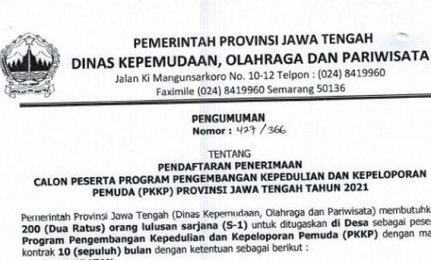 Lowongan Kerja Dinas Kepemudaan Olahraga dan Pariwisata Provinsi Tahun 2021