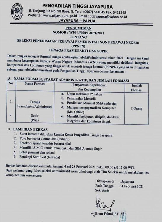 Penerimaan Pegawai PPNPN Pengadilan Tinggi Minimal SMA Sederajat Februari 2021