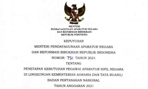 Lowongan CPNS & PPPK 2021 Kementerian ATR/Badan Pertanahan Nasional Total 2.664 Formasi