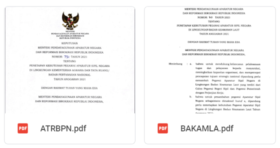 Daftar Rincian Formasi CPNS & PPPK 2021 Instansi Pusat Seluruh Kementerian/Lembaga