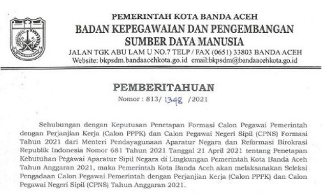 Lowongan CPNS dan PPPK Pemko Banda Aceh Tahun 2021 Total 172 Formasi