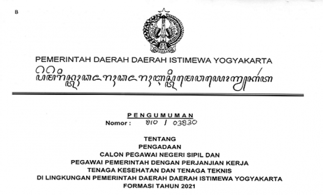 Resmi ! Pengumuman Pengadaan CPNS & PPPK Provinsi DIY Formasi Tahun 2021