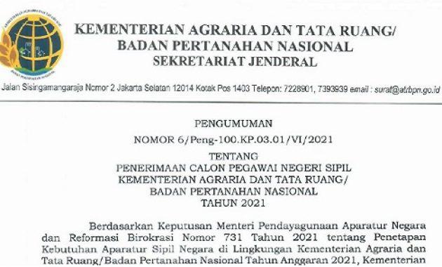 Resmi ! Pengumuman Penerimaan CPNS Kementerian ATR / BPN Tahun 2021 Sebanyak 2.664 Formasi