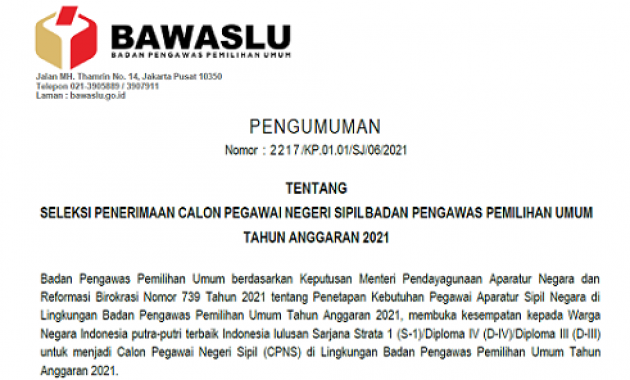 Resmi ! Pengumuman Seleksi Penerimaan CPNS Badan Pengawas Pemilihan Umum (Bawaslu) 2021