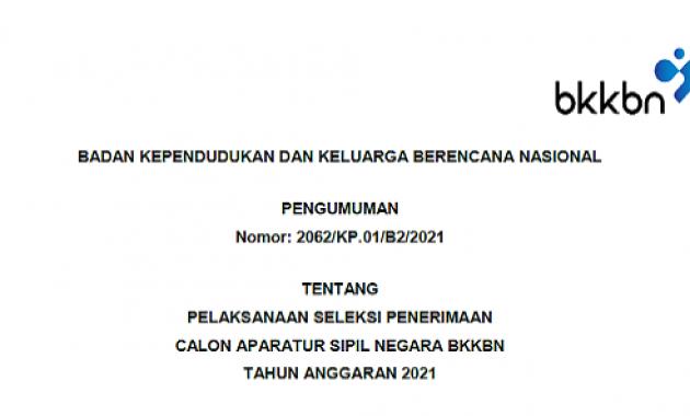 Resmi ! Pengumuman Persyaratan & Formasi CPNS/PPPK BKKBN Tahun 2021