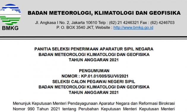 Resmi ! Pengumuman Seleksi CPNS Badan Meteorologi, Klimatologi, dan Geofisika (BMKG) Tahun Anggaran 2021
