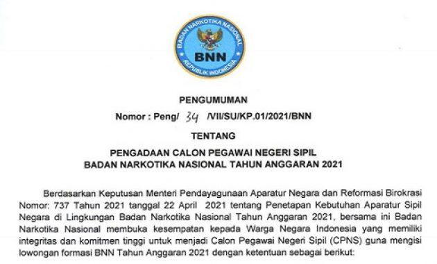 Resmi ! Pengumuman Penerimaan CPNS Badan Narkotika Nasional (BNN) Tahun 2021