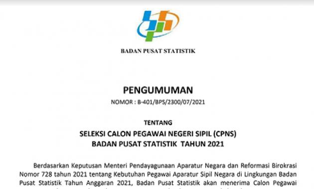 Persyaratan, Formasi dan Tata Cara Pendaftaran CPNS Badan Pusat Statistik (BPS) Tahun 2021