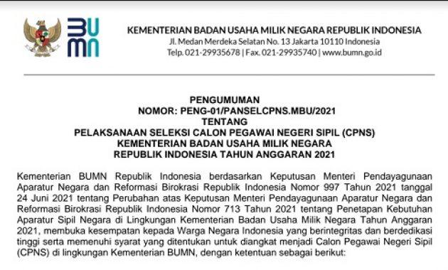 Resmi ! Pengumuman Pelaksanaan Seleksi CPNS Kementerian BUMN 2021