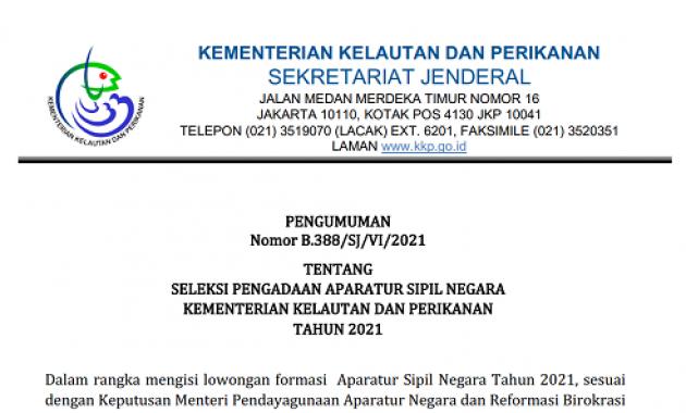 Persyaratan, Formasi dan Tata Cara Pendaftaran CPNS Kementerian Kelautan dan Perikanan Tahun 2021