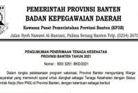 Penerimaan Tenaga Kesehatan Provinsi Banten Tahun 2021 Untuk Lulusan SMA/SMK D3 dan S1